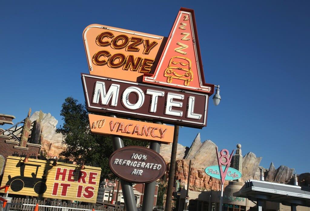 The Cozy Cone Motel in Cars Land at Disney California Adventure
