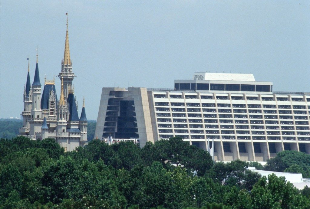 Cinderella Castle and Disney's Contemporary Resort