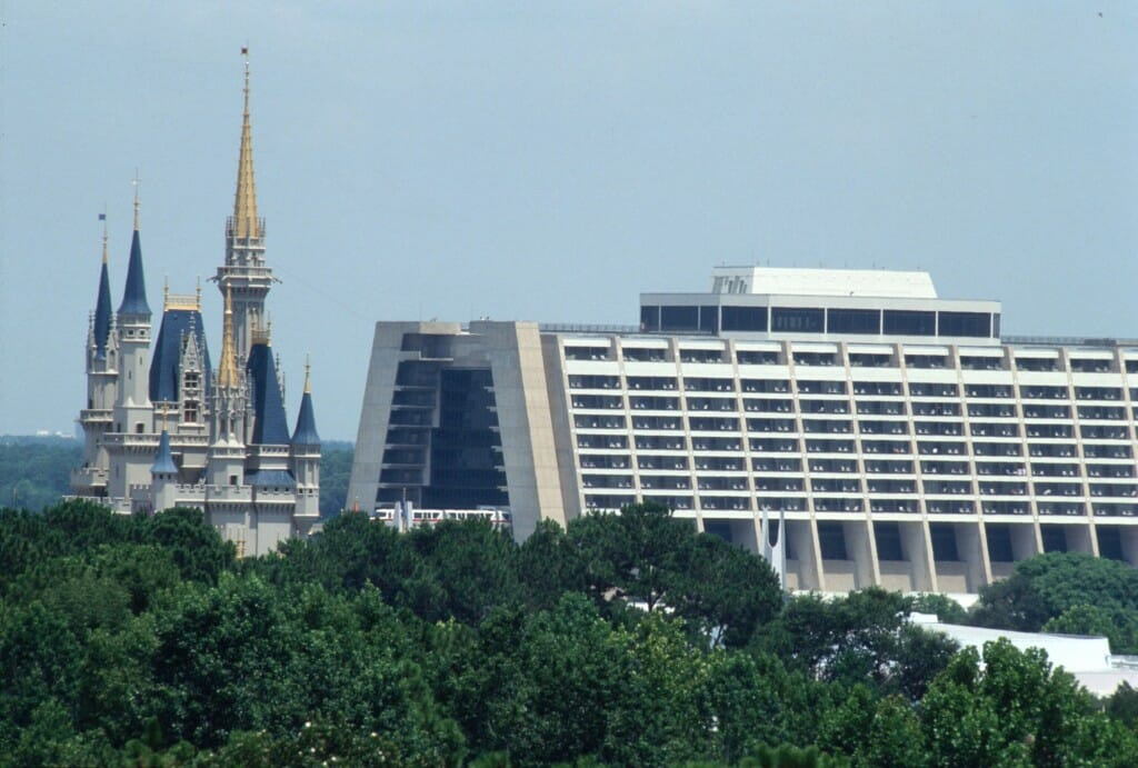Cinderella Castle and Disney's Contemporary Resort