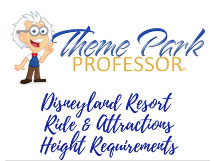 Disneyland Attractions Height Requirements