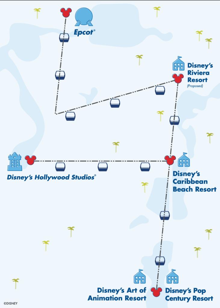Map of the Disney Skyliner Stops