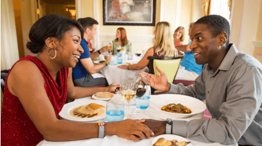 Guests Enjoying a Table Service Meal at Walt Disney World