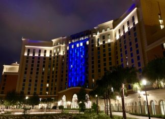 Gran Destino Tower at Disney's Coronado Springs Resort at night