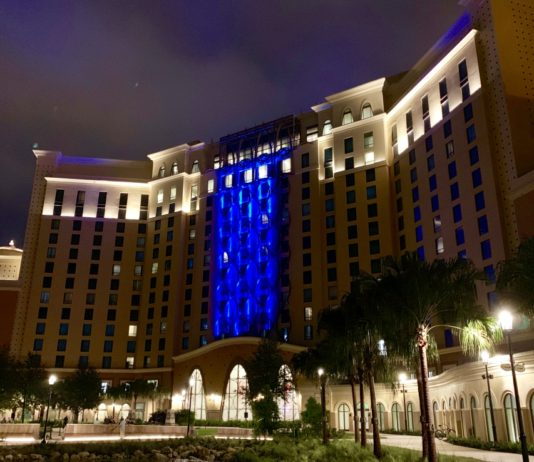 Gran Destino Tower at Disney's Coronado Springs Resort at night