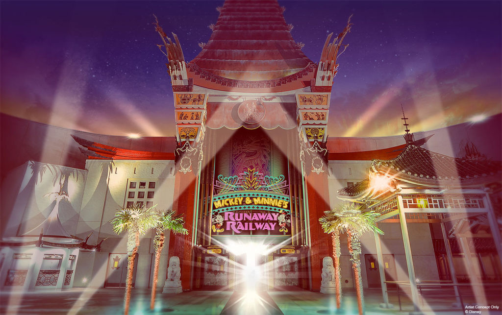 At Disney's Hollywood Studios, Disney Imagineers are getting ready to open next year. You'll be invited to the Chinese Theatre, which serves as the magic portal through which theatergoers will step from the human world directly into the cartoon world for one Goofy adventure aboard Mickey & Minnie's Runaway Railway!