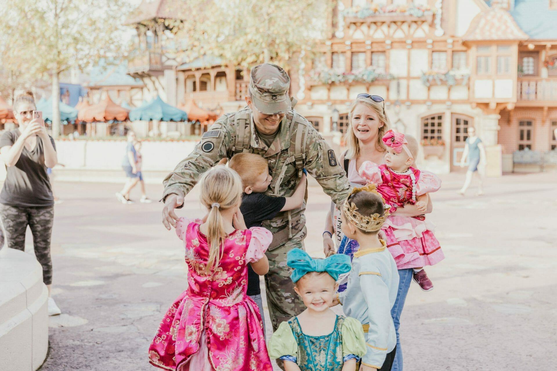 Military Dad Reunites With Family at Walt Disney World