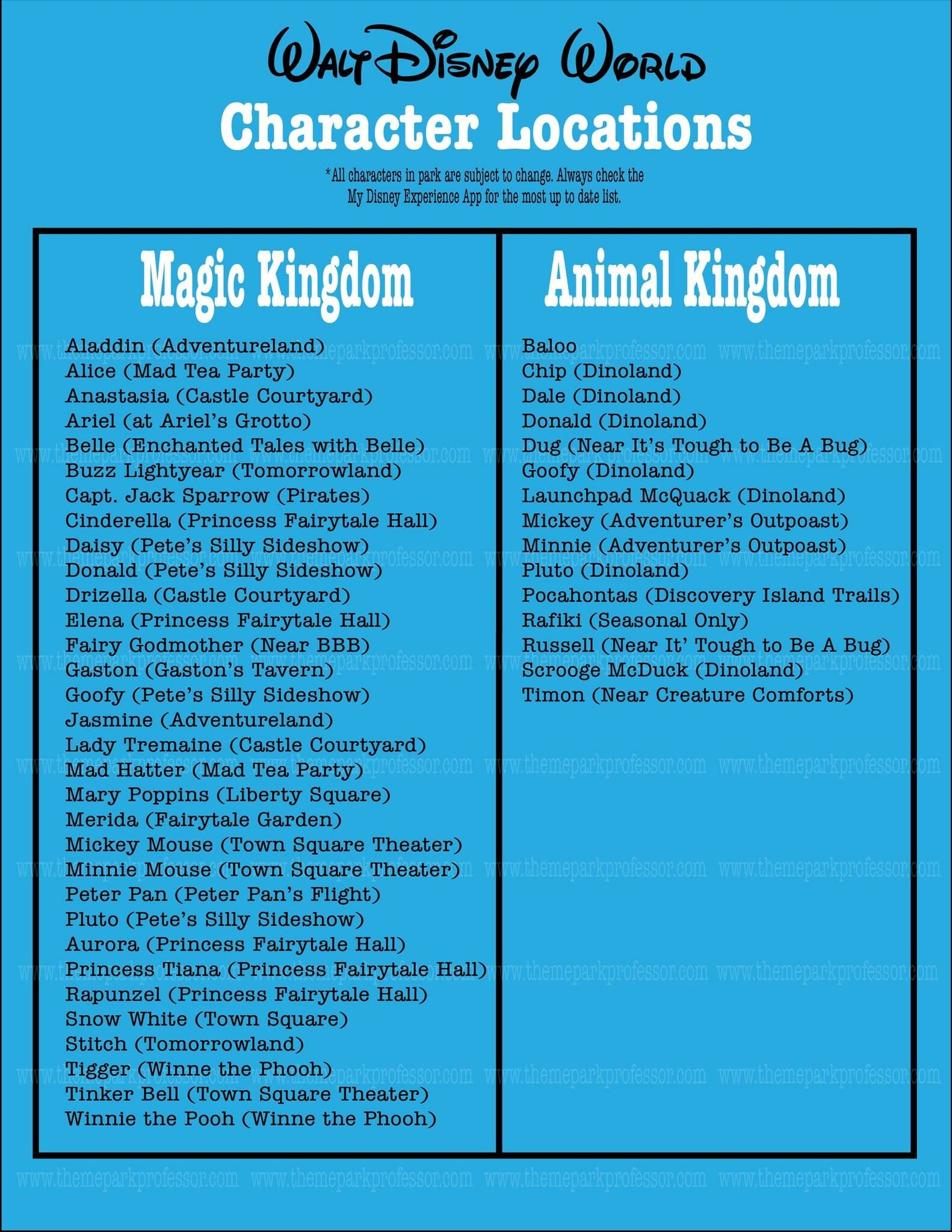 Walt Disney World Printable Character Guide
