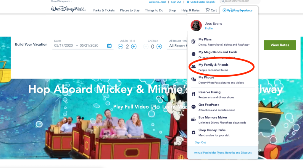 Adding Friends and Family to My Disney Experience