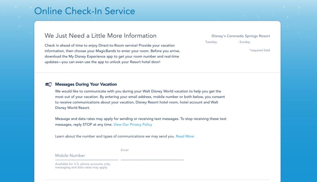 Walt Disney World Online Check-in