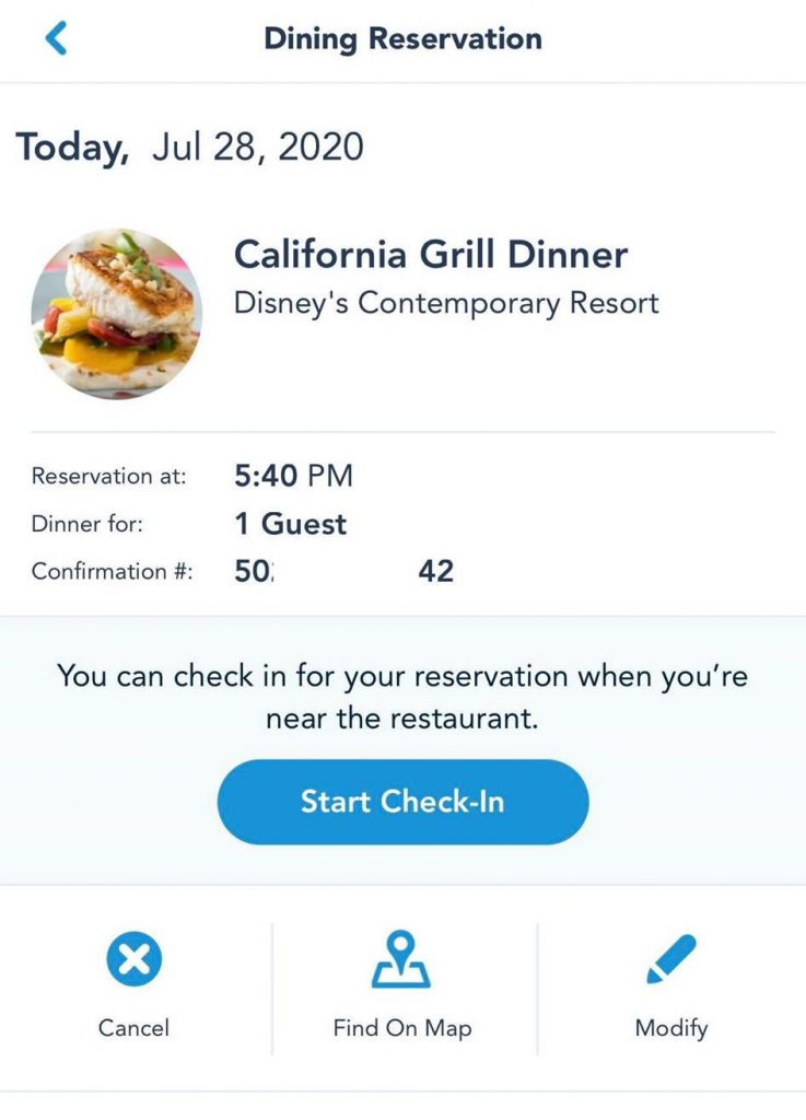 Mobile Dine Check-In Walt Disney World